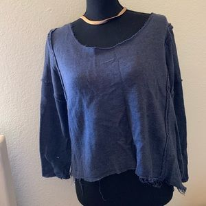 Navy Blue Distressed Sweater